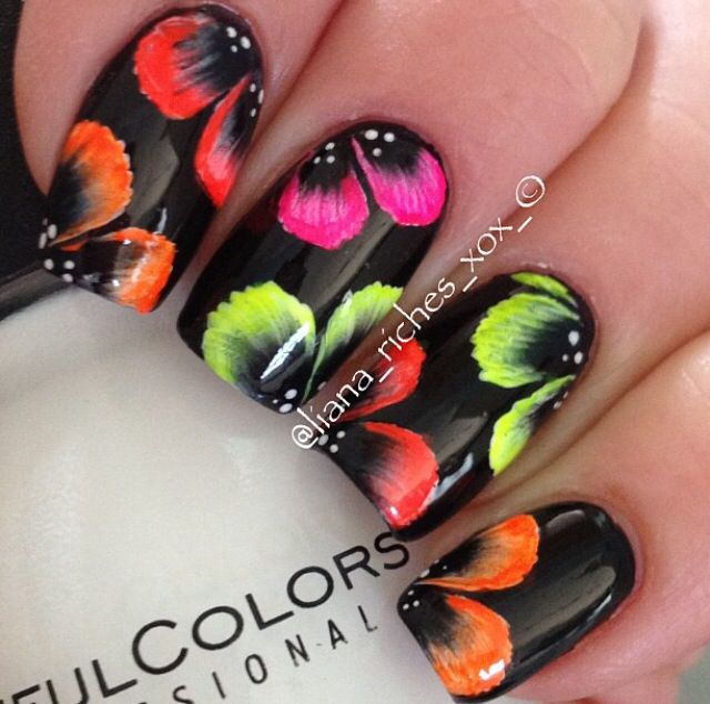 how tropical. Beautiful one stroke nail art - with polycolor acrylic nail art paints from www.TheNailArtCompany.co.uk