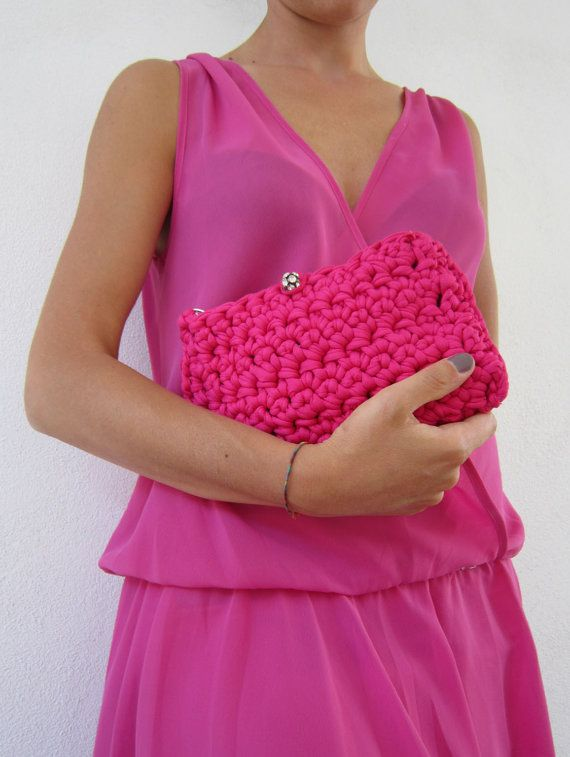 elegant crochet  bag in hot pink colour-evening by lecosedites