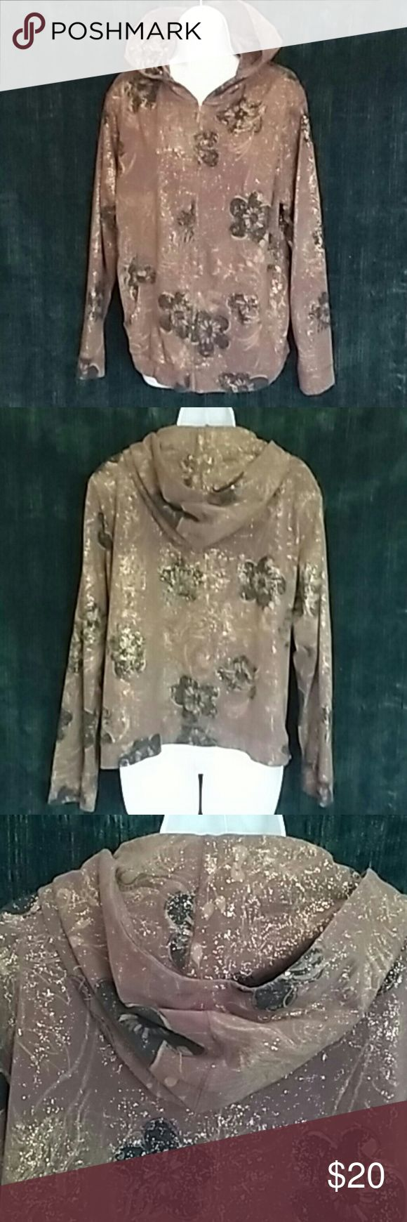"Zenergy Chico's Brown Gold Metallic Hoodie Size XL 95% cotton 5% spandex. Machine wash. Zipper front. Two center front pockets. Armpit to armpit flat 25"". Length bottom hood 25"". Gold is a foil effect. Chico's size 3 = Xl/16 Chico's Tops Sweatshirts & Hoodies"