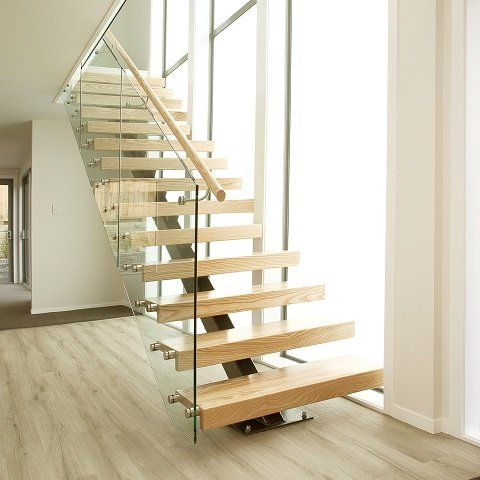 Steel stairs with American Ash timber treads and glass balustrade