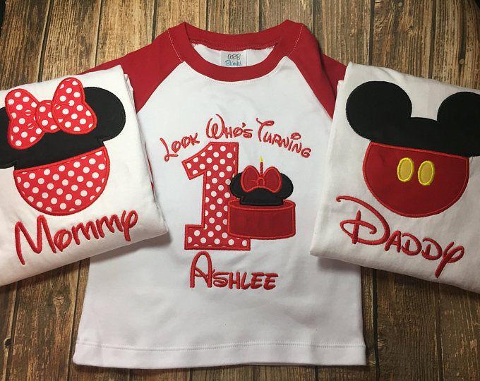 Girls Minnie Mouse first birthday raglan baseball shirt with matching parent raglan baseball shirts