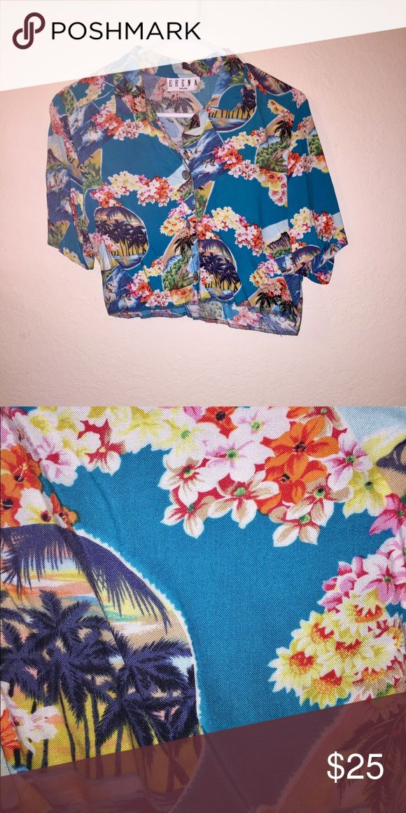 Vintage Copped Hawaiian Shirt Vintage cropped Hawaiian shirt purchased from Brandy Melville's vintage section. This is super cute. No size but this would fit an extra small/small best :) Brandy Melville Tops