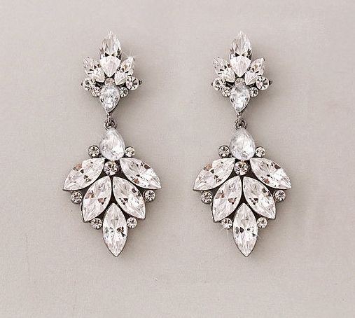 Swarovski Crystal Leaf Earrings - Shimmering crystals on antique silver settings.