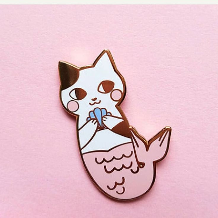 Love this pin by @berryjammyshop on etsy! So stinking cuute. #pingame #enamelpins #mermaid #catsofig #catmaid