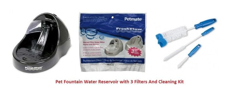 Pet Fountain Dogs Cat Large Water Reservoir Black w/3 Filters And Cleaning Kit L