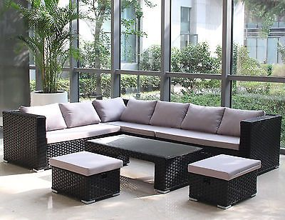 #Large 8 seater rattan garden furniture sofa table set #conservatory #outdoor pat,  View more on the LINK: http://www.zeppy.io/product/gb/2/191930565862/