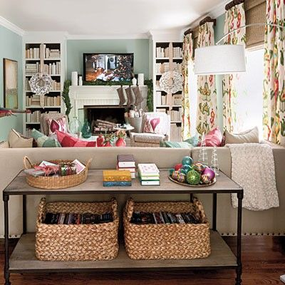 The Room Is A Bit Busy Curtain Pattern But I Love Basics Of It Fireplace Bookshelves Sofa Table And Baskets Wall Color
