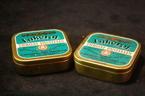 Lot of 2 Vintage Lakerol Throat Pastilles Tins Swedish Throat Drops Mints | eBay