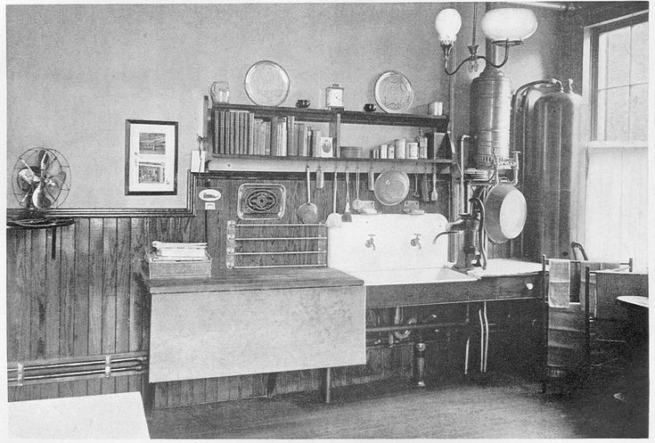 Kitchen pictured in 1906 Craftsman magazine. Nice stained woodwork on walls.