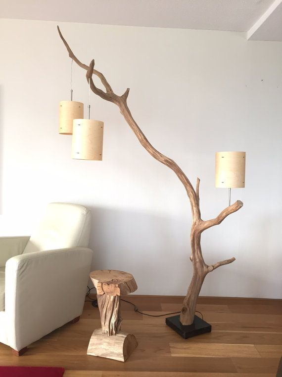 Floor lamp and Arc Lamp, weathered old Oak branch, Total height 222 cm, delivery with three real wood veneer lampshade around 18 cm x 23 cm high. This arc lamp is suitable as a pendant and as Reading Lamp, next to your chair. Lamp base is made of dark stone. The lamp comes with a floor dimmer.  This lamp is suitable for 110 volt, in combination with an inverter 110-220 volt. Available with plug for USA, UK, or Italy, other countries on request. Please indicate clearly in the order.