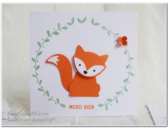 Foxy friends carte remerciements thank you stampin up merci papierciseauxetcie