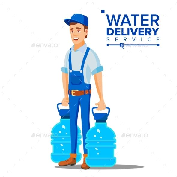 Water Delivery Service Man Vector Water Delivery Service Water Delivery Delivery Service