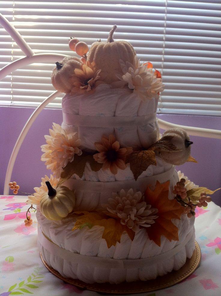 Fall pumpkin themed diaper cake things i ve done