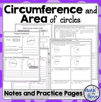 This lesson includes four pages of interactive notes, a double-sided worksheet for extra practice, and an assessment. The notes include the following:Page 1 and 2 - Guided practice finding the circumference and area when given the diameter or radius.Page 3 and 4 - Guided notes and practice finding a missing radius or diameter when given the circumference or area.
