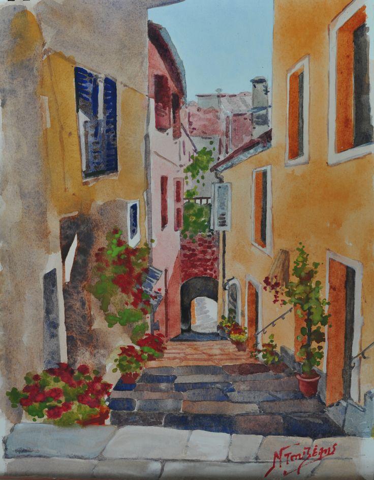 Corfu 30x40cm watercolor by Babis Douzepis