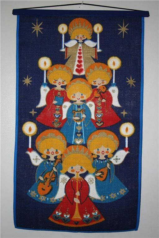 Tryckt julvepa, juteväv, 63 x 36 cm