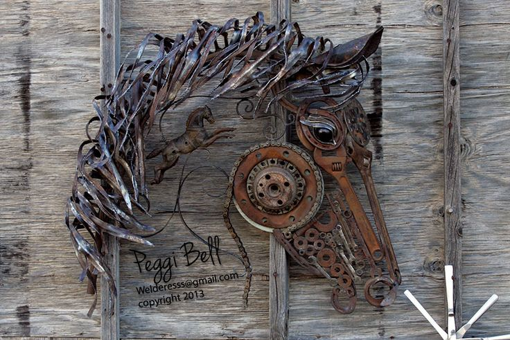 Fire Horse - Welded metal horse sculpture made out of reclaimed-recycled-upcycled metal.   Welded Art by Peggi Bell | Garden Art ~ Metal ~ Animals - welderesss@gmail.com - 2014. Materials include grill from 70's tractor trailer, flatware, washers, nuts, bolts, nails, oil dip stick, crescent wrenches, stove pipe, lamp stand, antique fire engine horse statue, bicycle chain, and more.