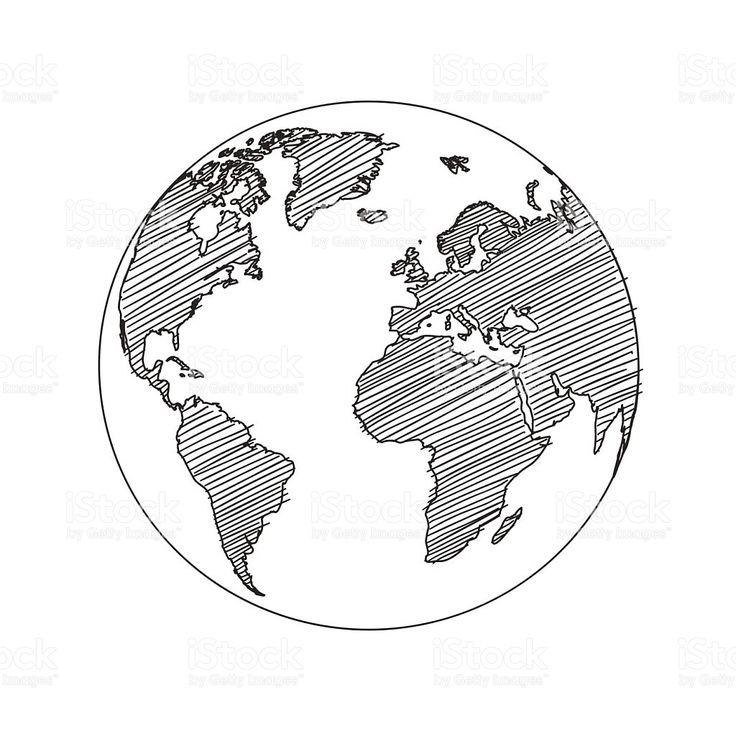 Carte du monde monde Croquis vectoriels cliparts vectoriels libres de droits