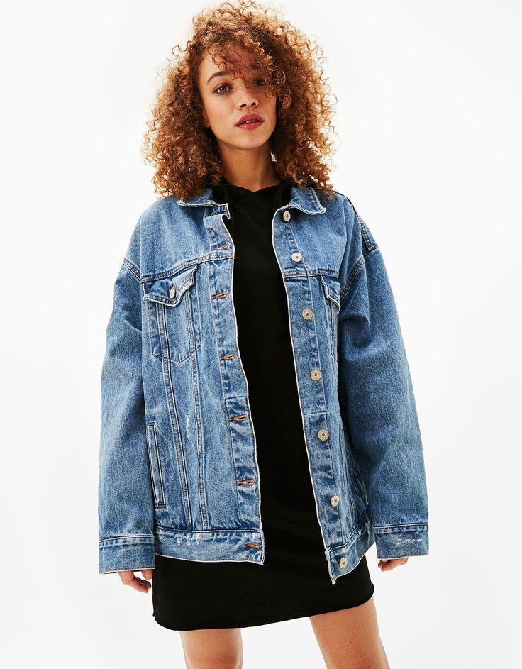 Oversized denim jacket - Coats & Jackets - Bershka Finland
