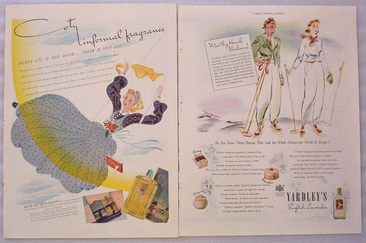 2 Vintage 1940 Ads Yardley English Lavender Coty Eau de Toilette Perfume Cologne