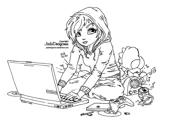Cute Geek - Lineart by JadeDragonne.deviantart.com on @deviantART