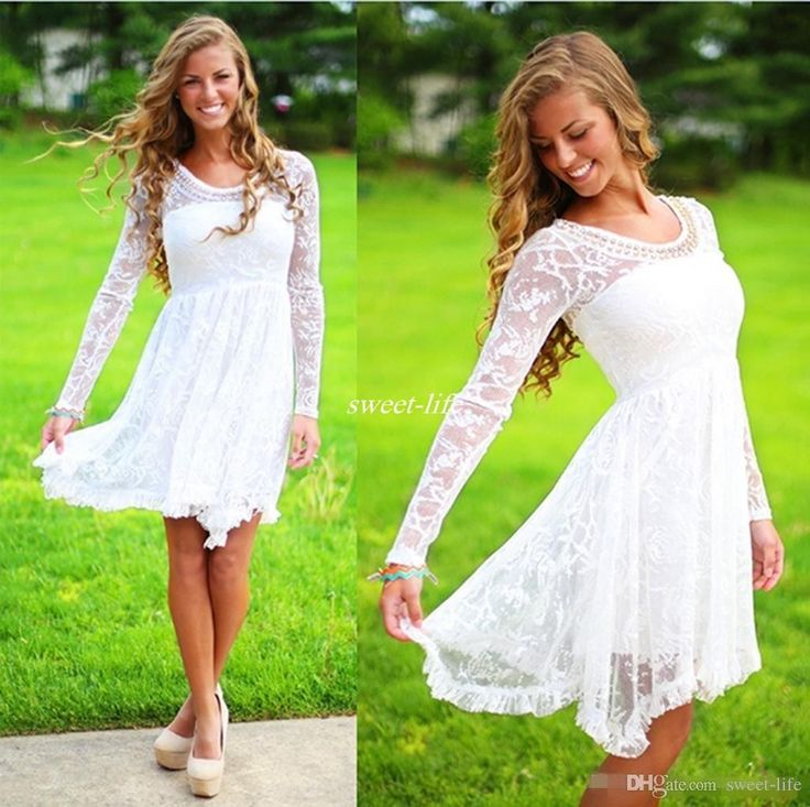 Short Casual Country Wedding Dresses With Long Sleeves Crystal Neckline Knee Length Full Lace Wedding Gowns Short Beach Bridal Dress 2017 Short Wedding Dresses Lace Bridal Gowns Online with $118.0/Piece on Sweet-life's Store | DHgate.com