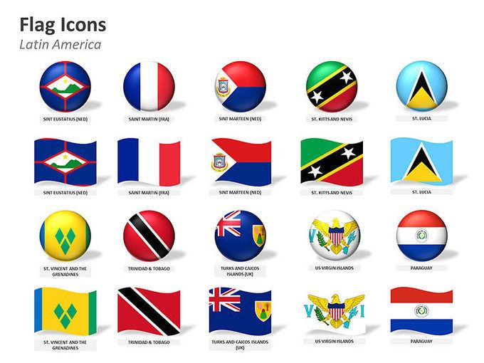 Editable PowerPoint Map: Flag Icons - Latin American Countries