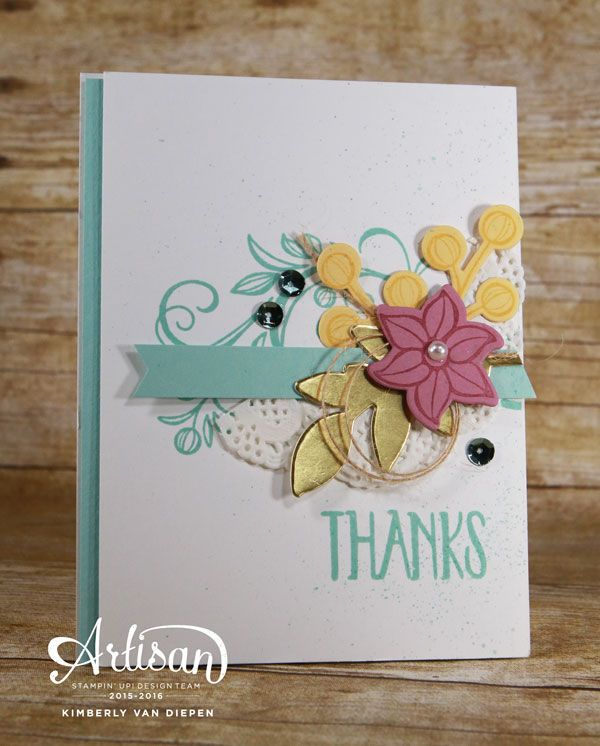 Falling Flowers stamp set from Stampin' Up! creates beautiful images for any stamping project.  The coordinating framelits, May Flowers Framelits dies make this set even better with no fussy cutting.