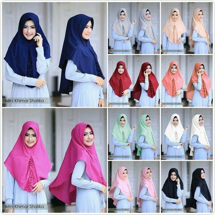 Jilbab Instan Mini Khimar Shalika Pad Antem Diamond Crepe Jilbab Instant 1x Slup Pad Antem Dengan Variasi Rempel Kriwil Di Bagn De Jilbab Hijab Hijab Fashion