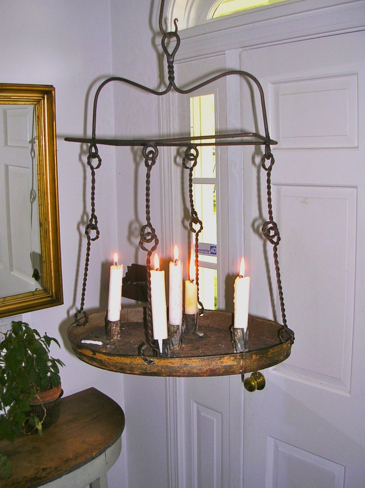 a 19th c iron tin hanging candle chandelier in early mustard paint ebay sold