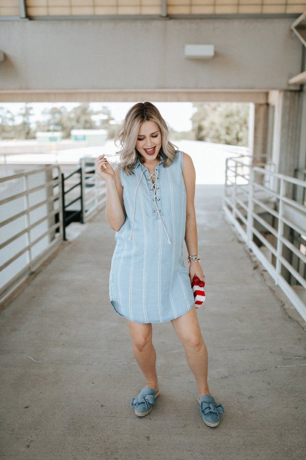87647c3f47fc2 Cute Patriotic Outfit: Chambray Dress by Houston fashion blogger Uptown  with Elly Brown