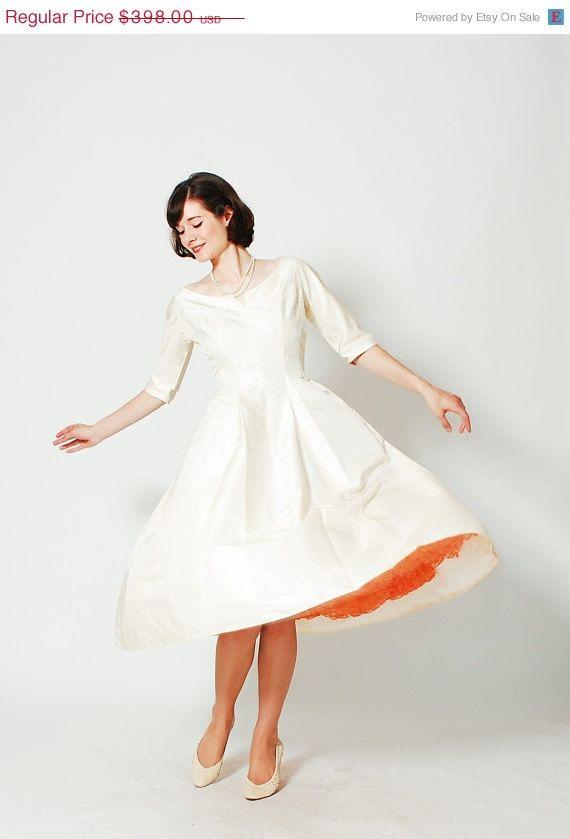 Vintage 1960s Wedding Dress -- I know it's a wedding dress, but it's orange underneath!!!