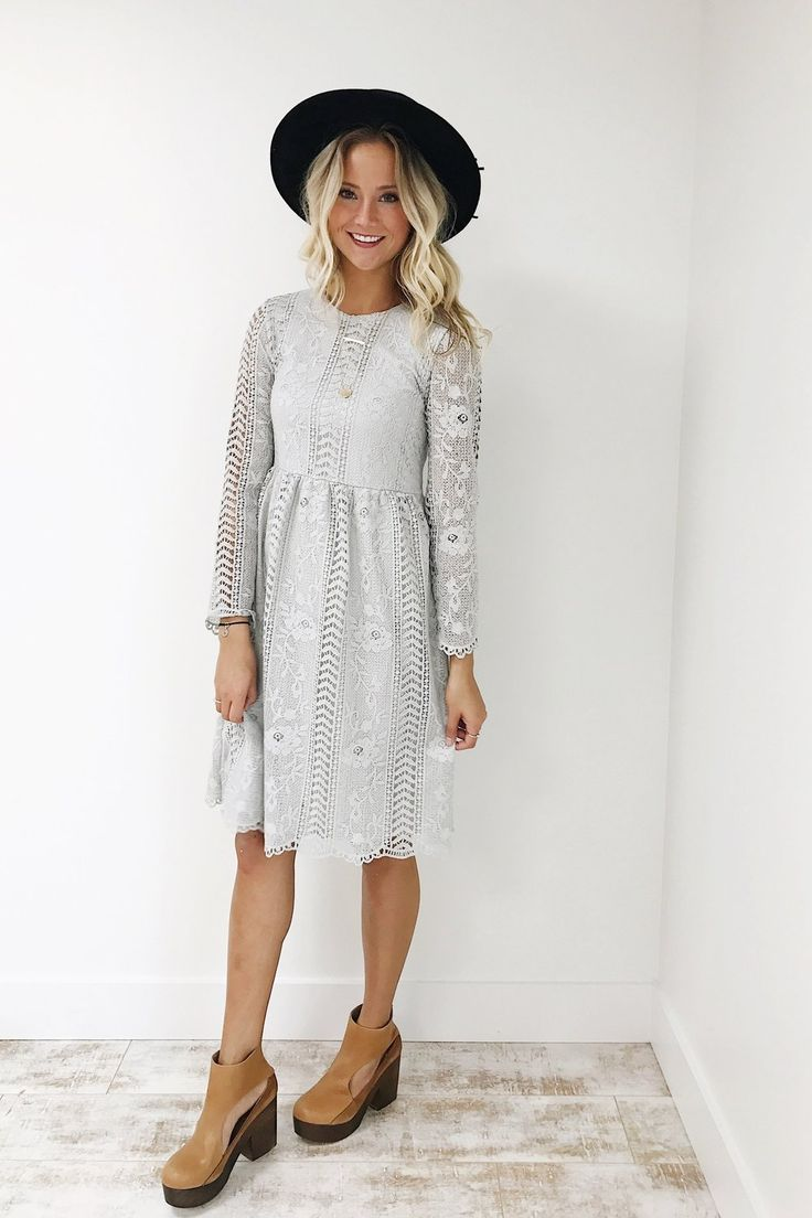 The dress images - Silver Grey Floral Lace Dress Roolee