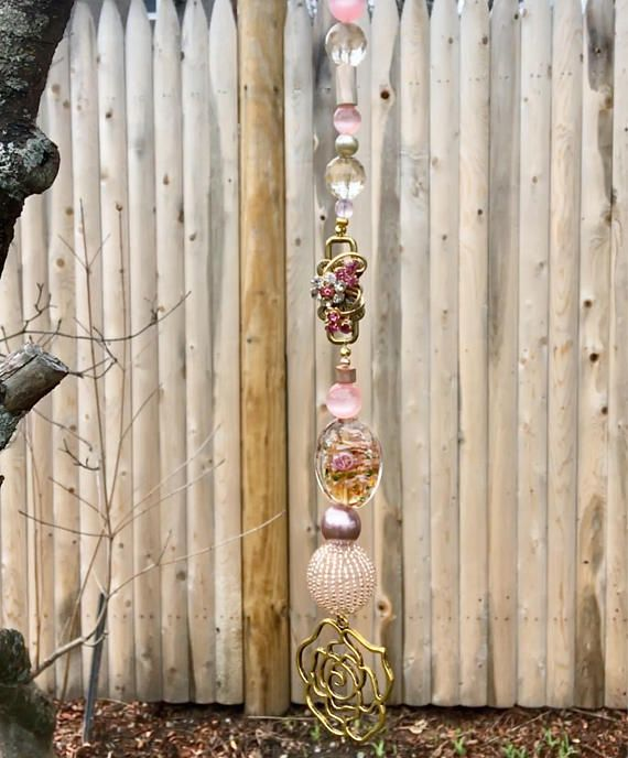 Pink Gold Hanging Pendant, Repurposed Jewelry Ornament, Beaded Sun Catcher, Rose Flower Ornament, Upcycled Garden Accent, Window Decoration