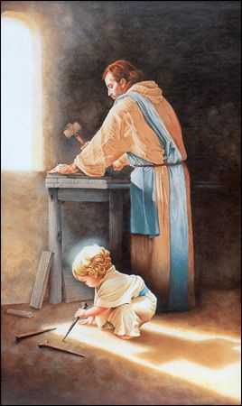 Anonymous Artist - Destiny - Art Prints of Jesus Holding Nail Spike in Joseph's Carpenter Shop, his shadow making a cross.