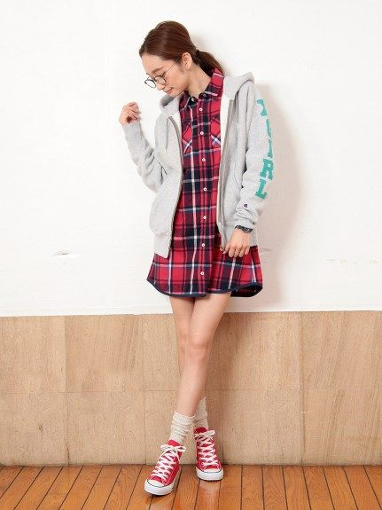 X-GIRL×CHAMPION 11.5OZ REVERSE WEAVE ZIP HOODY(パーカー) X-girl(エックスガール) calif(カリフ) B's INTERNATIONAL公式通販サイト
