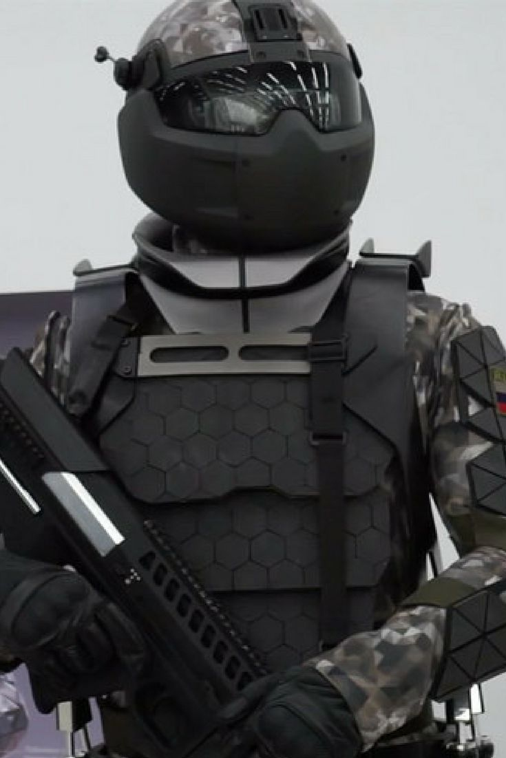 The prototype Robocop-esque outfit includes a 'powered exoskeleton' designed to help increase a soldier's performance and stamina, according to RT.