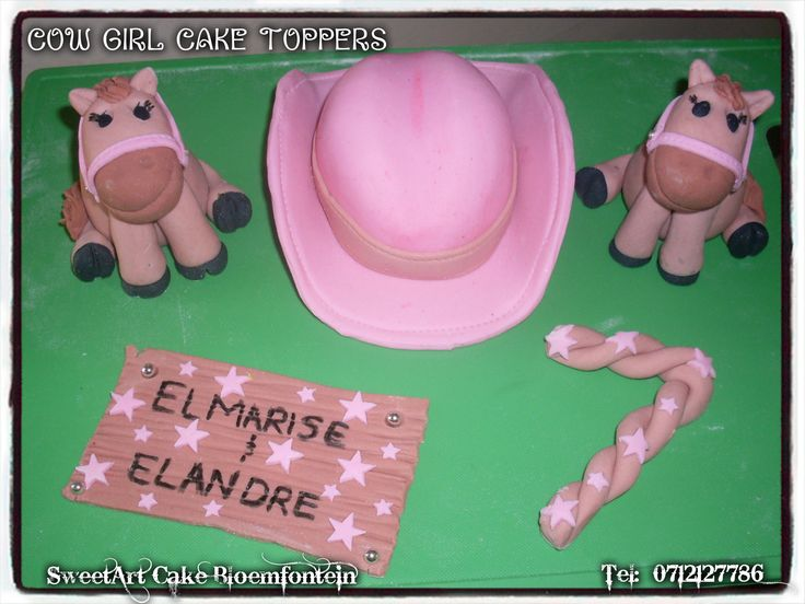 Fondant cowgirl cake toppers. For more info & orders email SweetArtBfn@gmail.com or call 0712127786.