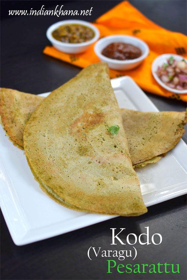 Kodo Pesarattu or varagu (kodra) Persarattu is gluten-free, vegan, healthy dosa made with kodo millet and green gram (green bean), try this healthy recipe for breakfast or dinner
