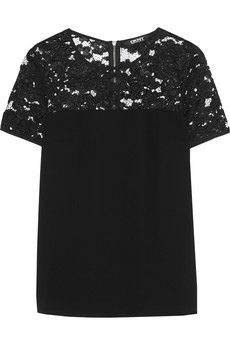DKNY Guipure lace-paneled crepe top | NET-A-PORTER
