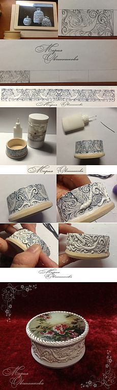 Its in Russian but I 'THINK' its a design + puffy paint + etching details on the puffs + paint + glaze. Will have to try this technique.