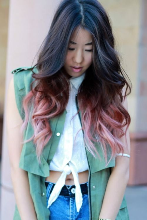 faded pink dip dye ombre hair