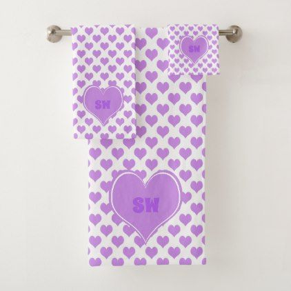 Pretty Monogram Baby Pink Hearts Pattern Bath Towel Set - pattern sample design template diy cyo customize