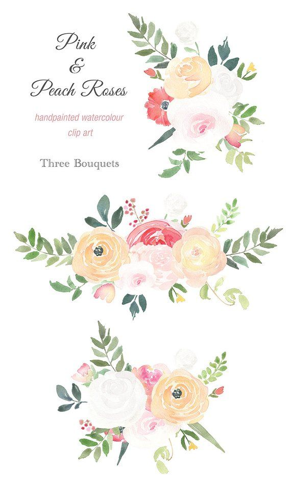 Watercolour Bouquet Clipart Pink And Peach Roses Wedding Bouquet Bouquet Png Pink Rose Clipart Peach Rose Watercolor Bouquet Flower Clipart Rose Clipart