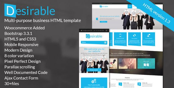 Desirable is a clean and modern landing page template, very easy to customize according to your needs. It built for any type of business landing page such as creative agency, freelancer or to promote web apps, mobile apps. The template is perfectly adapted to various screen sizes. It allows you to use it as sale platform as well as an informational one page website.
