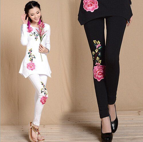 Top Print Punk New Arrival Autumn Long Thin Trousers Pants Women Clothing Plus Size 3xl Iadies Tops Embroidered Leggings
