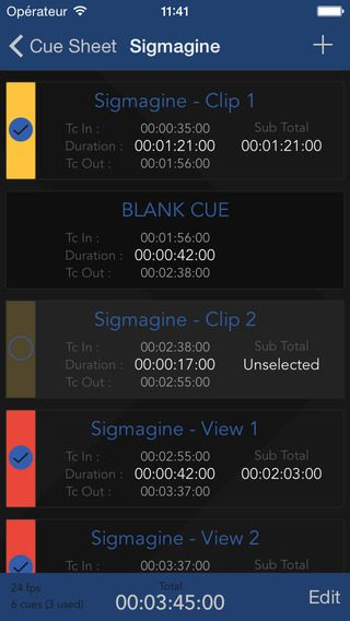 TC Tools (timecode toolbox) has been updated ! Version 2.0 is out !  https://itunes.apple.com/us/app/tc-tools/id943043331?l=fr  Features :   Timecode calculator - Simplify computations on durations and cue points in the hh:mm:ss:ff format. - Add or substract timecodes or frame numbers to other timecodes or frame numbers. - It takes into account multiple standard framerates.  Cue sheet manager - Easily generate your cue sheets for music composition projects, video editing and
