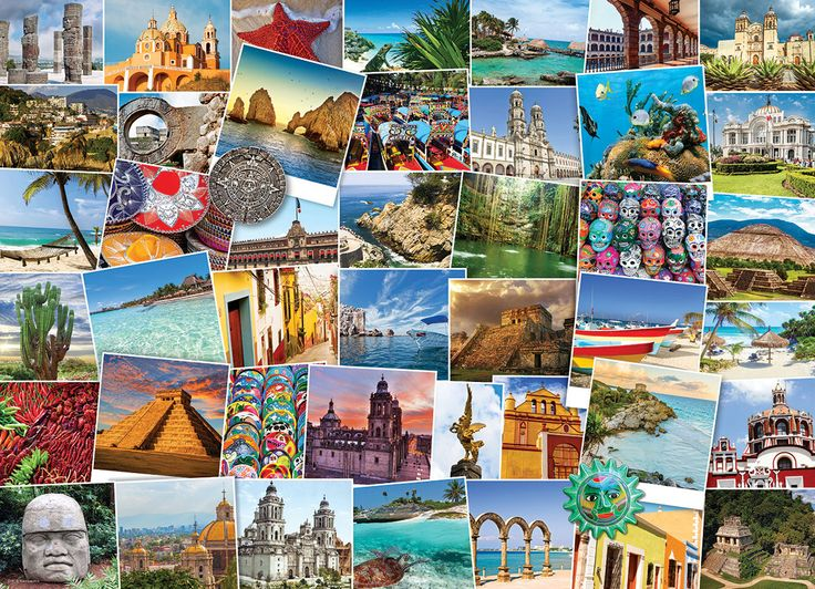 Globetrotter Mexico 1000 pieces. Discover all that Mexico has to offer from pristine beaches to palaces and old world architecture.  A collage of wonderment sure to please