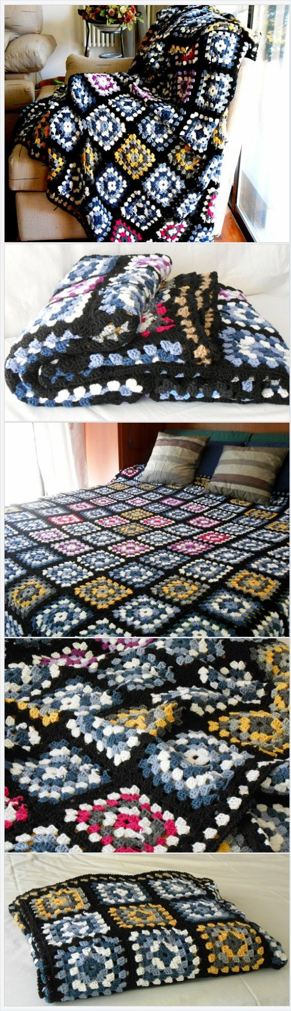 crochet blanket pure Merino wool, Granny square afghan, Wedding gift, cottage chic crochet afghan, Double Bed cover by cosediisa