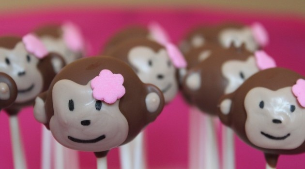 Monkey girl cake pops! So what if her first birthday is 9 months away?